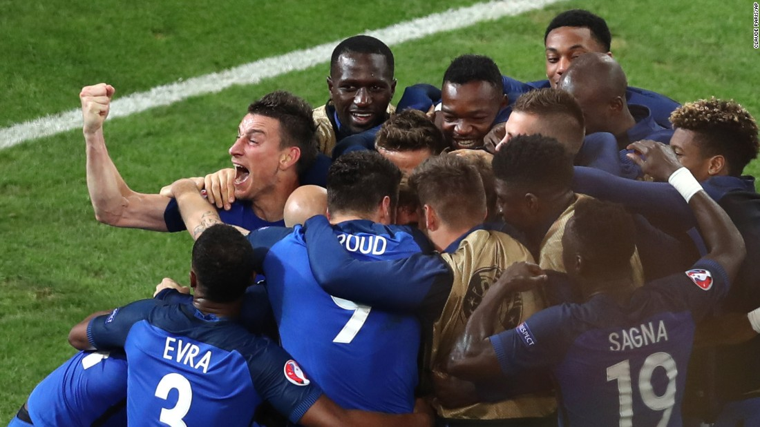 French players celebrate Antoine Griezmann's goal against Albania on Wednesday, June 15. The goal came in the 90th minute and broke a scoreless tie in Marseille, France. Dmitri Payet added another goal in stoppage time as France prevailed 2-0.