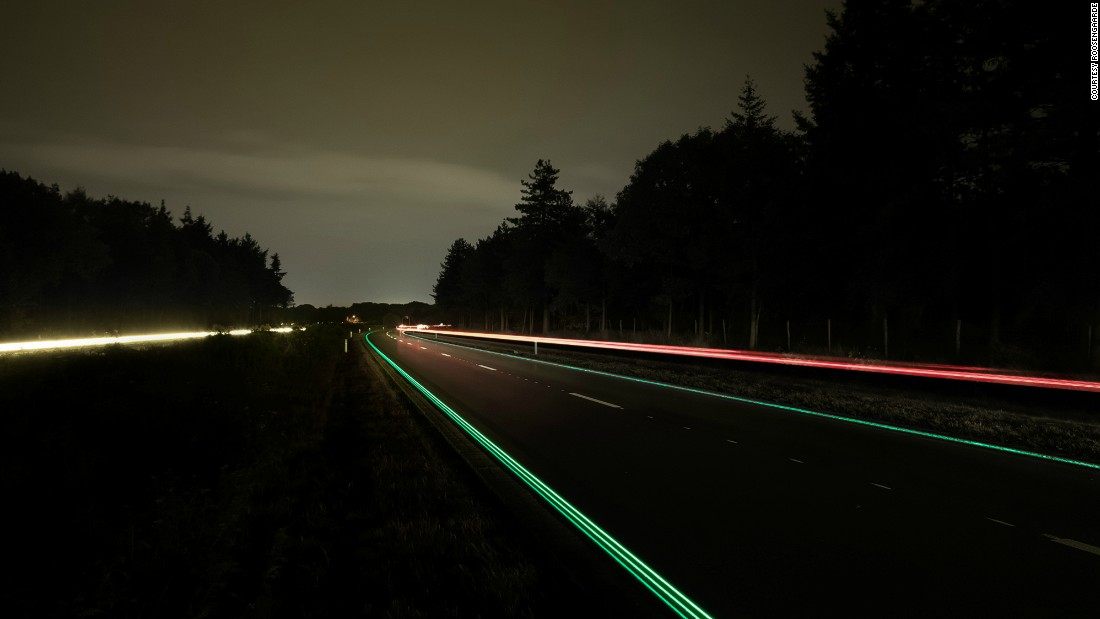 "Created by Dutch artist <a href=""https://www.studioroosegaarde.net"" target=""_blank"">Daan Roosegaarde</a> and Heijmans Infrastructure, these ""Smart Highways"" are a series of interactive and sustainable roads. The designers are experimenting with a number of solutions such as glowing lines, pictured, that use sunlight to charge, and glow in the dark.<br />"