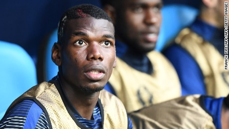 Paul Pogba started on the bench after being dropped by France coach Didier Deschamps.