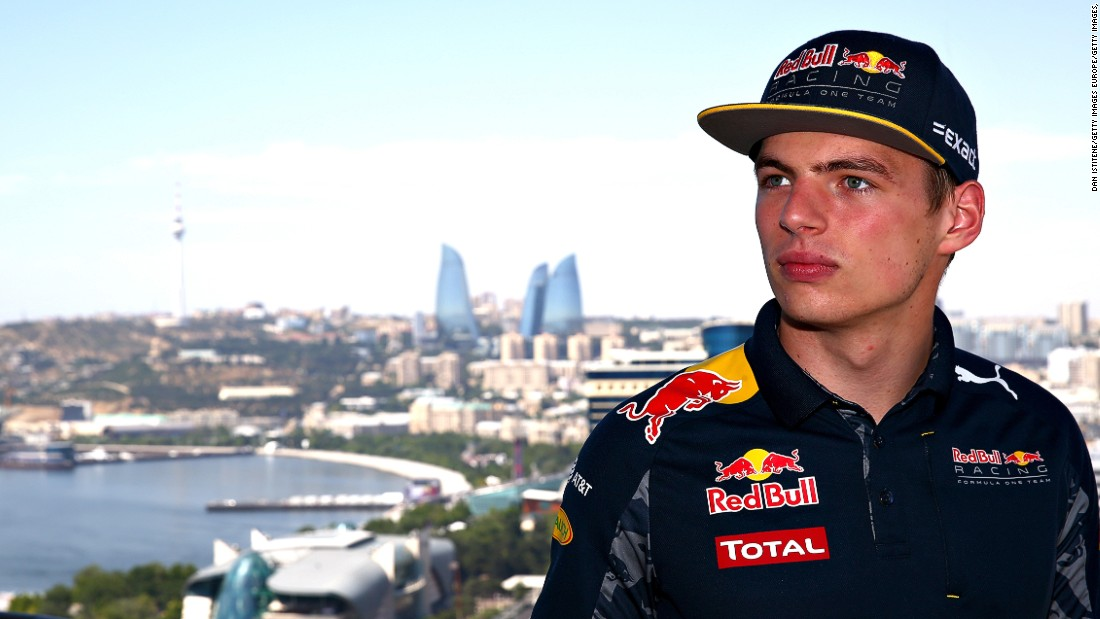 "F1's hottest property, Max Verstappen poses with Baku's iconic ""Flame Towers"" in the background."
