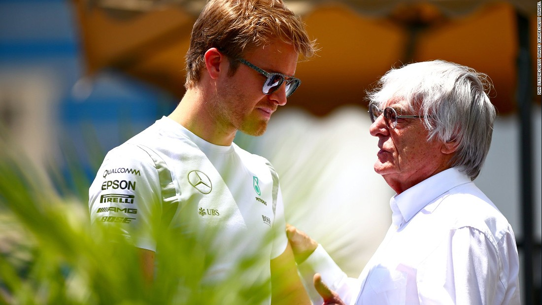 "World championship leader Nico Rosberg in conversation with F1 supremo Bernie Ecclestone. The German had his lead slashed at the top of the standings to nine points after his Mercedes teammate Lewis Hamilton <a href=""http://edition.cnn.com/2016/06/12/motorsport/motorsport-canada-gp-hamilton-vettel/index.html"">took the checkered flag in Canada</a> last weekend."