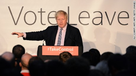 "London Mayor and Conservative MP for Uxbridge and South Ruislip, Boris Johnson addresses campaigners during a rally for the ""Vote Leave"" campaign, the official 'Leave' campaign organisation for the forthcoming EU referendum, in Manchester, northern England, on April 15, 2016. Britain will vote either to leave or remain in the EU in a referendum on June 23. / AFP / OLI SCARFF        (Photo credit should read OLI SCARFF/AFP/Getty Images)"
