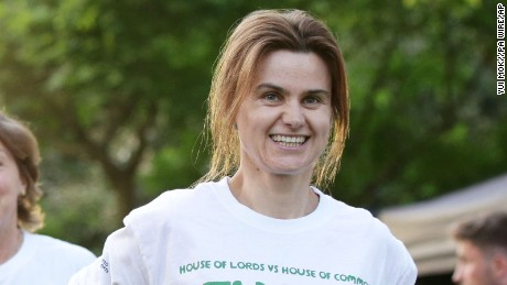 Jo Cox is seen on June 6, during the Peers and MPs Parliamentary Tug of War contest, in aid of the Macmillan Cancer Support charity, at The College Gardens, Westminster, London.