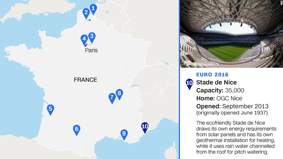 Also known as the Allianz Riviera, it will stage three group games and a last-16 match.