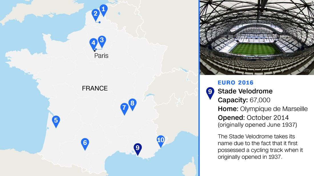 Originally built for the 1938 World Cup, it was also used at the '98 tournament (for which it was extensively rebuilt with its trademark round stands) and Euro '84. This time it will host four group games, a quarterfinal and a semi.