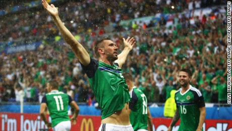 McAuley celebrated his country's first goal at a major tournament for 30 years.