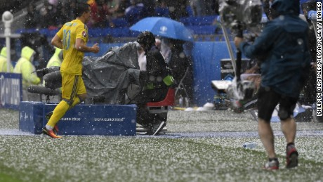 The teams were forced off the field during the hailstorm.