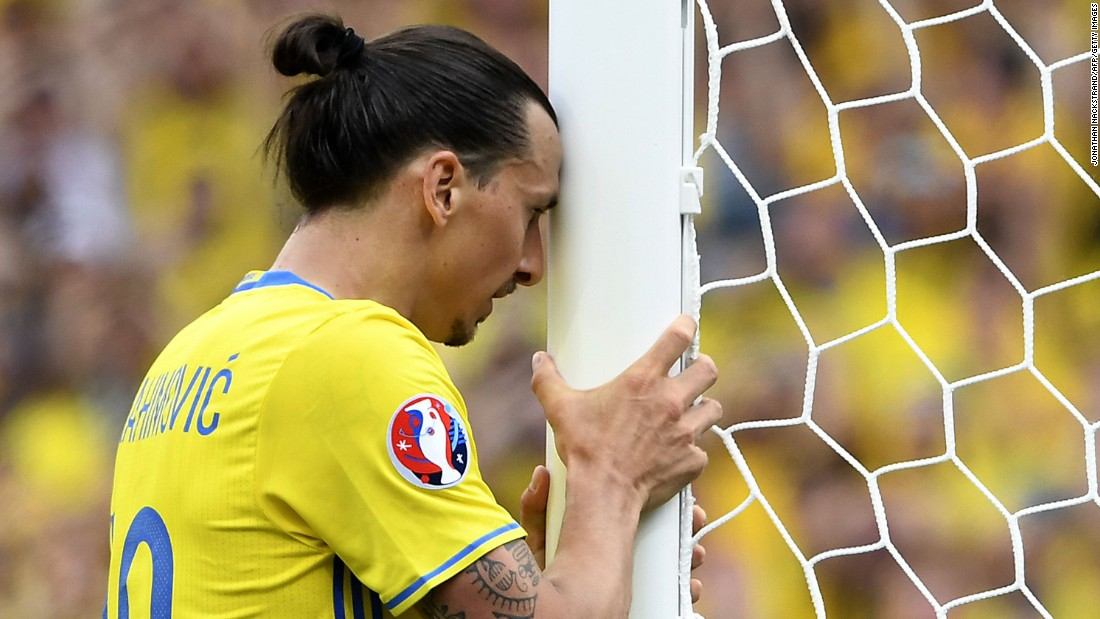 Zlatan Ibrahimovic, Sweden's star striker, reacts to a missed chance.