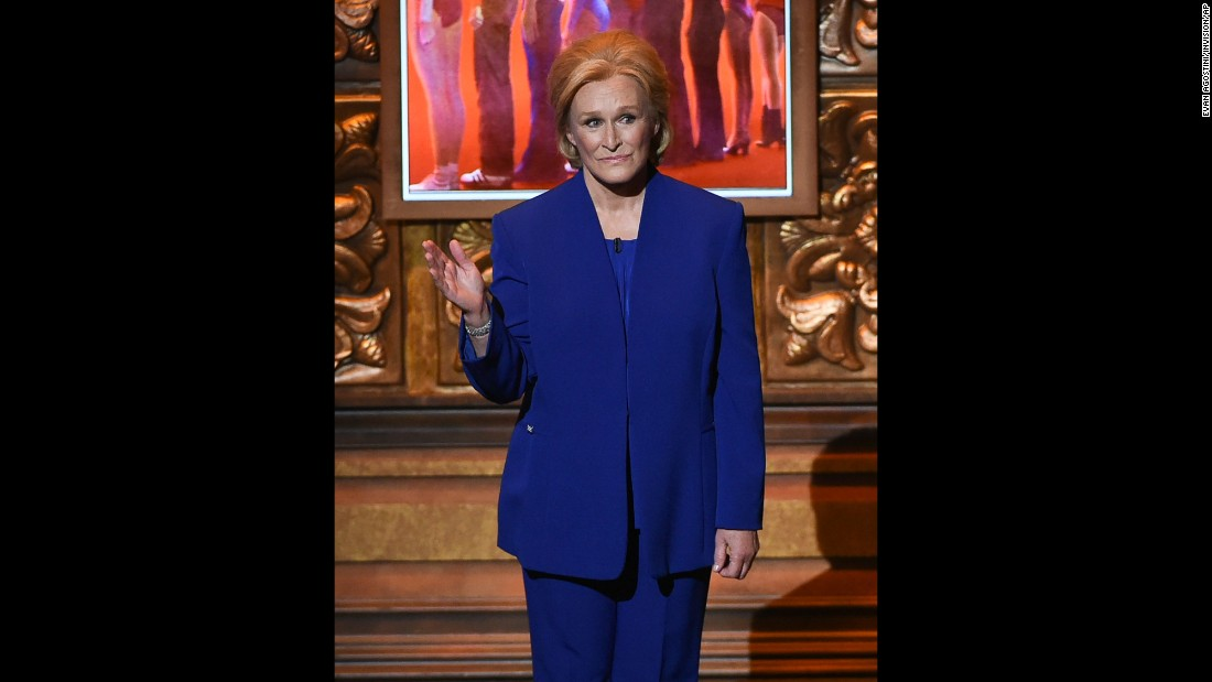 Actress Glenn Close imitates presidential candidate Hillary Clinton during the Tony Awards on Sunday, June 12.