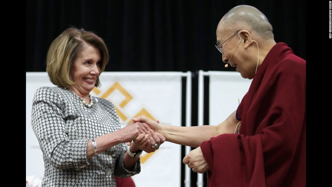 "House Minority Leader Nancy Pelosi greets the Dalai Lama before he spoke at American University in Washington on Monday, June 13. <a href=""http://www.cnn.com/2016/05/19/world/gallery/tbt-dalai-lama-exile/index.html"" target=""_blank"">#tbt: See the Dalai Lama when he was 24</a>"