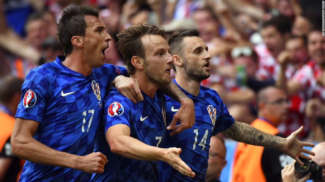 Croatia took a 2-0 lead after midfielder Ivan Rakitic, center, scored in the 59th minute.