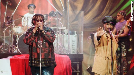 THE TONIGHT SHOW WITH JAY LENO -- Episode 240 -- Pictured: Musical guests P.M. Dawn (l-r) Prince B., J.C. the Eternal perform on June 4, 1993-- (Photo by: Margaret Norton/NBC/NBCU Photo Bank via Getty Images)