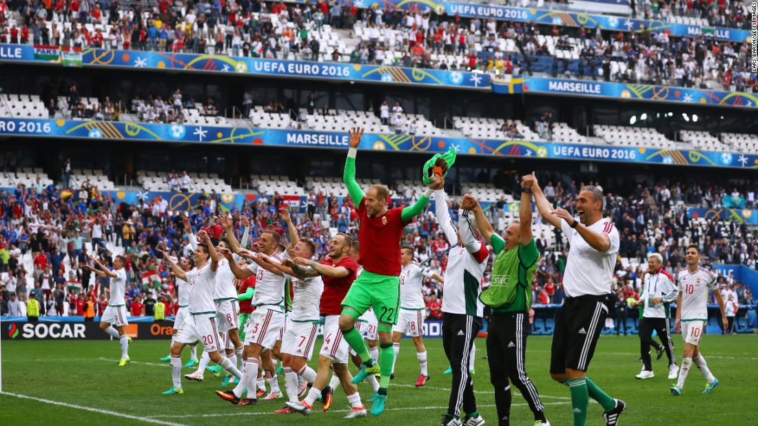 Hungary players celebrate after the full time whistle of their 1-1 draw against Iceland at Stade Velodrome on Saturday, June 18  in Marseille, France.