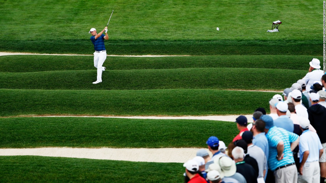 Jordan Spieth of the United States plays a shot from the Church Pews on the 15th hole during the first round on June 16.