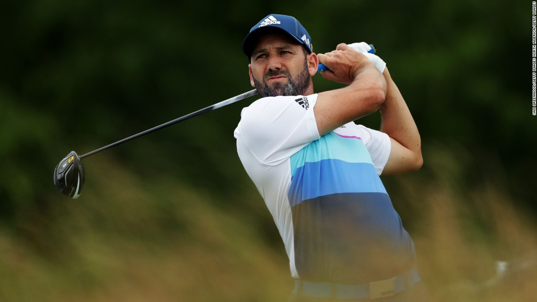 Sergio Garcia of Spain hits his tee shot on the fourth hole during the continuation of the weather-delayed first round on June 17.