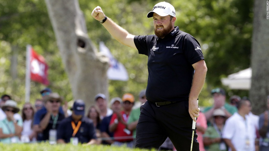 Shane Lowry reacts after making a birdie on the ninth hole during the second round on June 18.