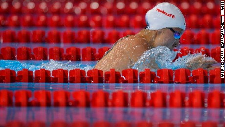 Kong competes at the FINA World Championships in Barcelona, Spain in 2013.