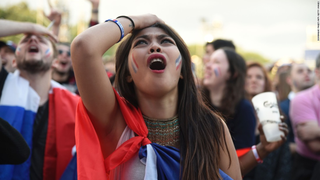 A French fan reacts during the game.