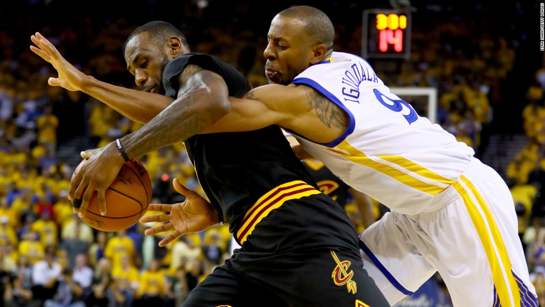 Iguodala defends James.