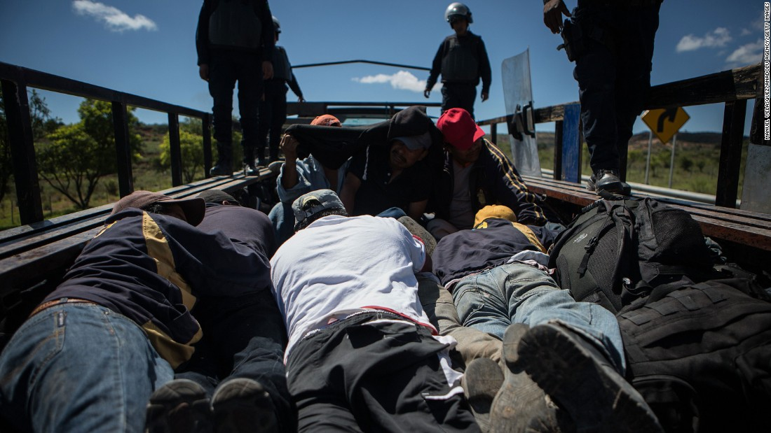 Police detain protesters during June 19 clashes in Nochixtlan, a town in the state of Oaxaca.