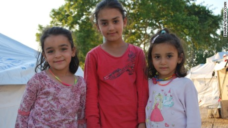 Sisters Riam, nine, Lina, six, and Dima Suleiyman, five, got stuck in Greece when the border was closed, but at least they have their parents with them.