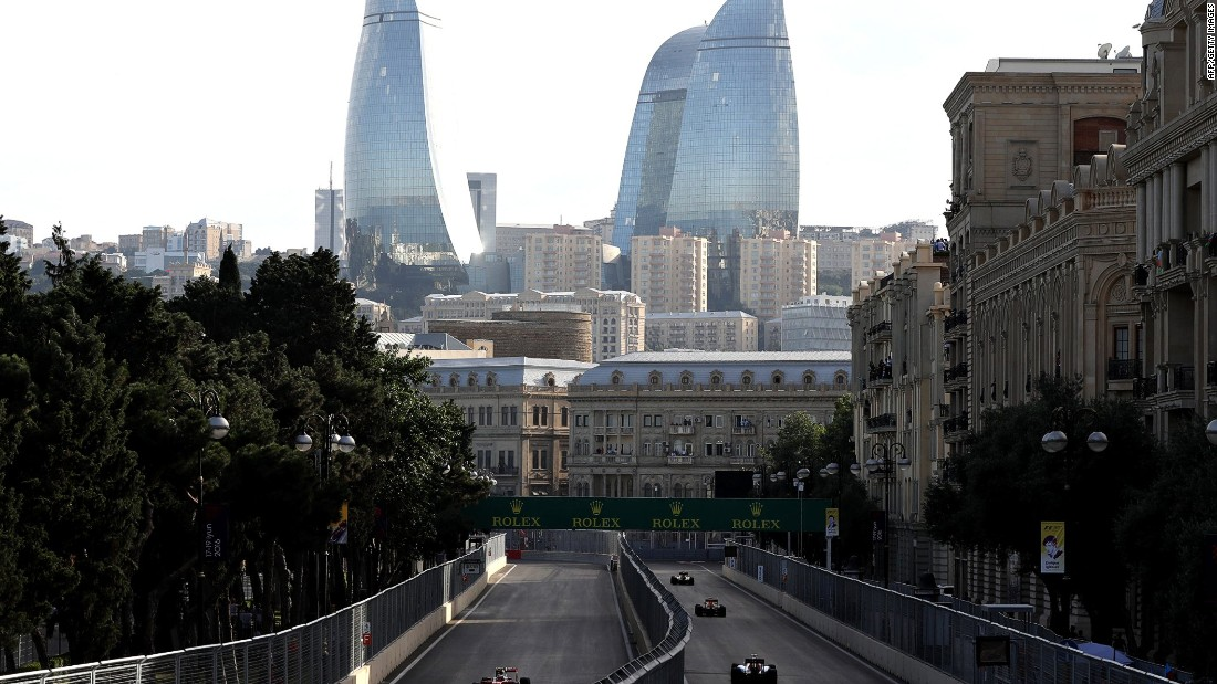 "The circuit ran through the streets of the Azerbaijan capital with spectacular views of the iconic ""Flame Towers."""