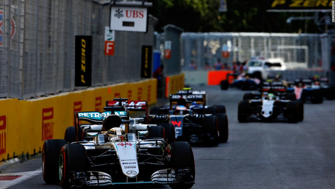 Lewis Hamilton (No. 44) could only finish fifth at Sunday's European Grand Prix in Baku.