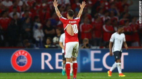 LILLE, FRANCE - JUNE 19:  Granit Xhaka of Switzerland wears a ripped shirt during the UEFA EURO 2016 Group A match between Switzerland and France at Stade Pierre-Mauroy on June 19, 2016 in Lille, France.  (Photo by Clive Mason/Getty Images)