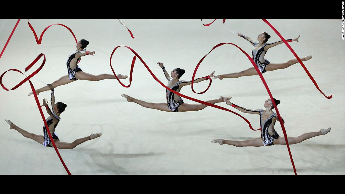 Rhythmic gymnasts from Israel compete in the European Championships on Friday, June 19.