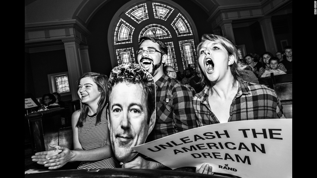 Supporters of U.S. Sen. Rand Paul attend a town hall in Seattle in August.