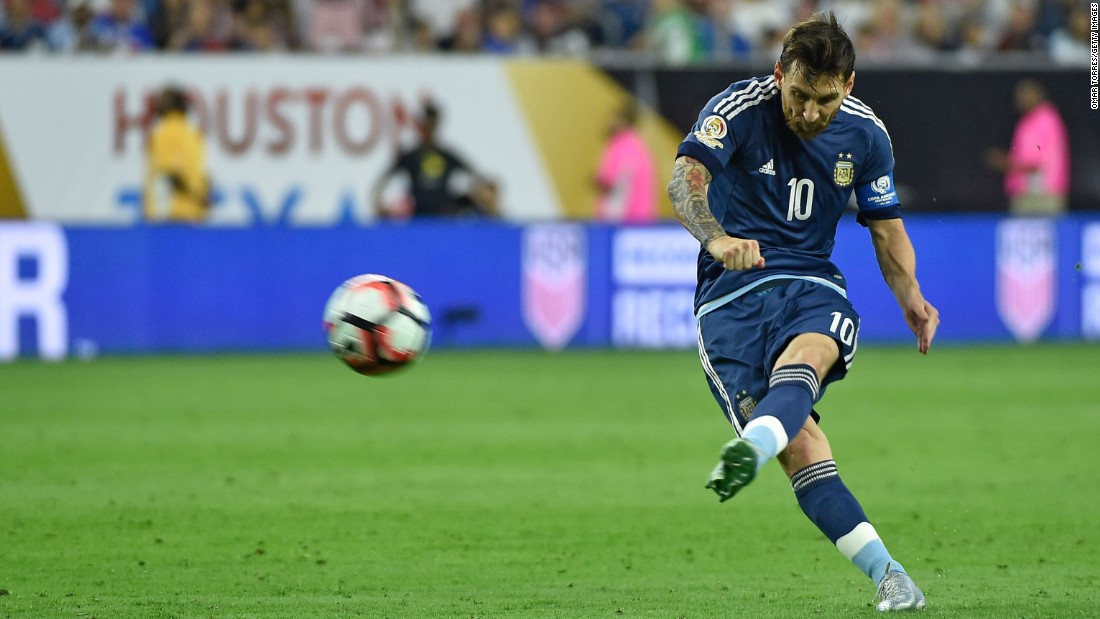 Argentina superstar Lionel Messi scores a free-kick goal against the United States on Tuesday, June 21. Messi also had a couple of assists in the match, which Argentina won 4-0 to clinch a spot in the Copa America final.