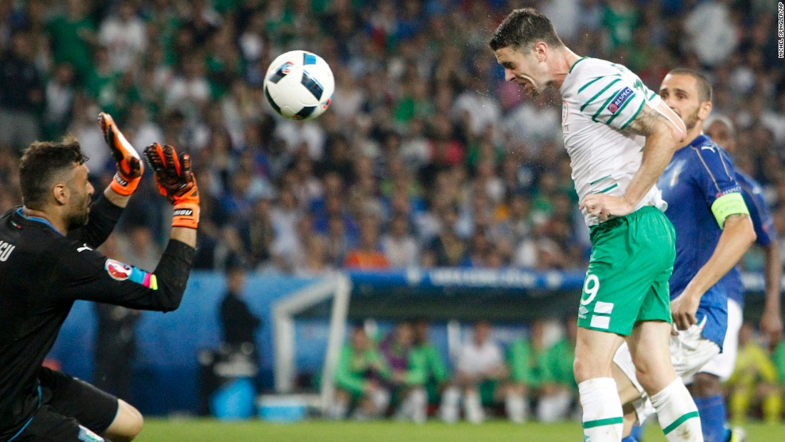 Ireland's Robbie Brady heads in a late second-half goal to defeat Italy on Wednesday, June 22. The 1-0 result clinched a spot for the Irish in the knockout stage of Euro 2016. Italy had already won the group.