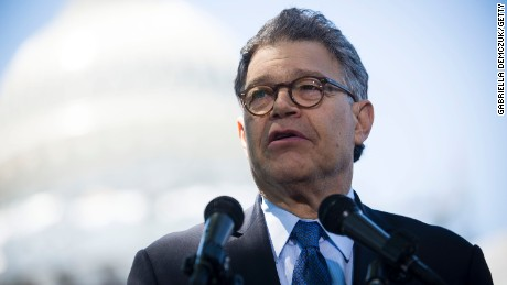 Sen. Al Franken speaks to reporters at a news conference outside the U.S. Capitol on June 9, 2016. in Washington, D.C.
