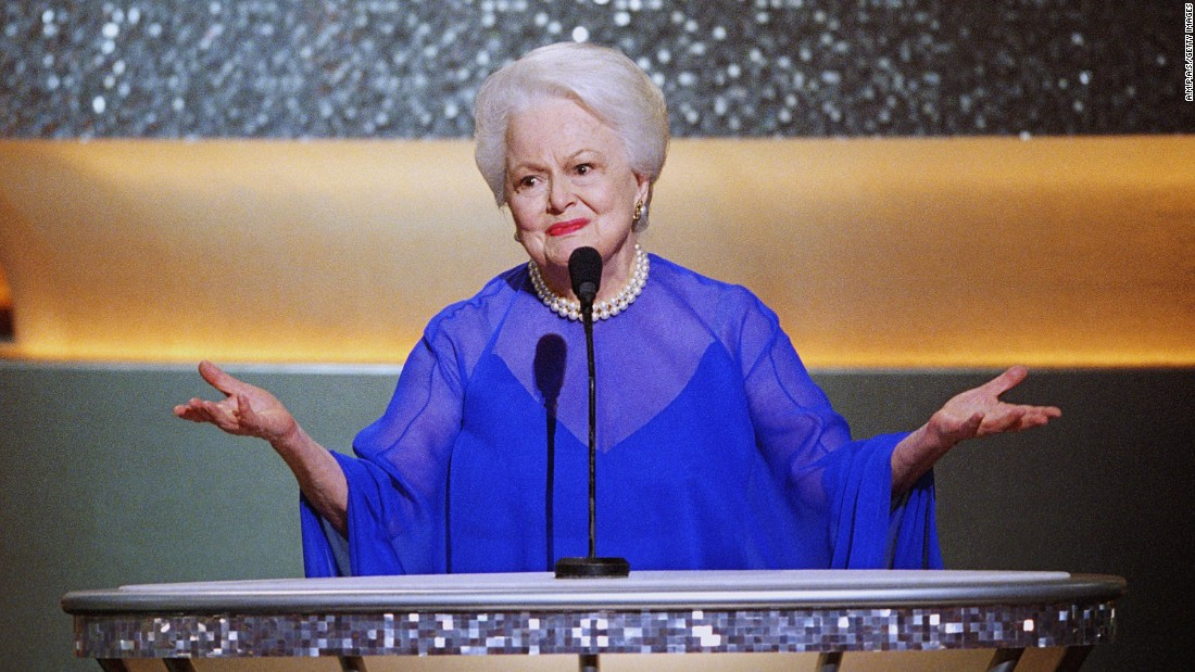 The two-time Oscar winner introduces other former acting winners at the Academy Awards in 2003. De Havilland is one of only 13 actresses who have won two or more best actress Oscars.