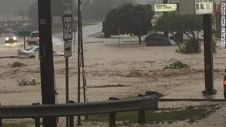 Cars submerged in White Sulphur Springs, West Virginia