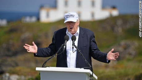 Presumptive Republican nominee for US president Donald Trump gives a press conference on the 9th tee at his Trump Turnberry Resort on June 24, 2016 in Ayr, Scotland.
