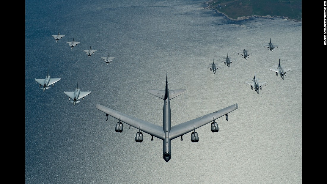 A B-52 Stratofortress leads a formation of fighter aircraft during a training exercise over the Baltic Sea on Thursday, June 9.
