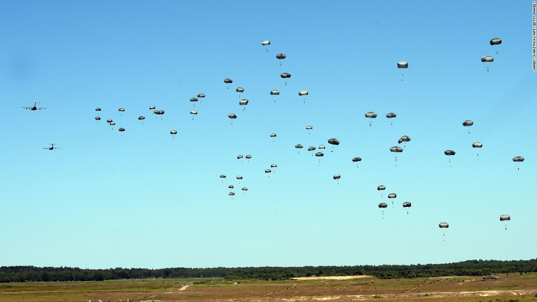 U.S. troops land near Torun, Poland, as part of a NATO military exercise on Tuesday, June 7.