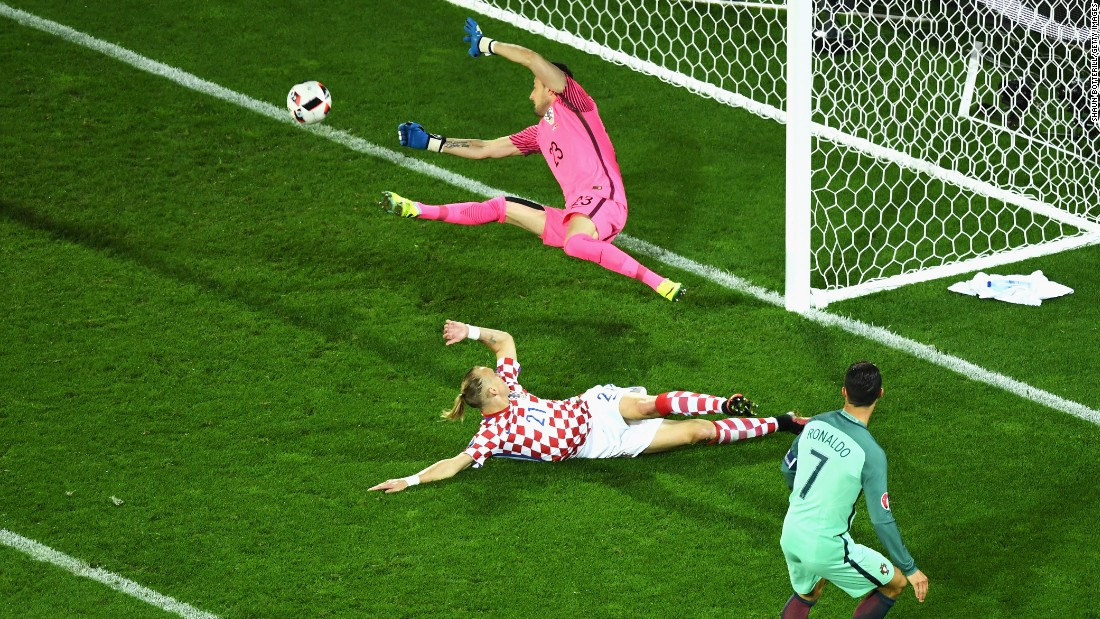 Cristiano Ronaldo, right, of Portugal shoots for a goal, but Croatia's Danijel Subasic makes the save.
