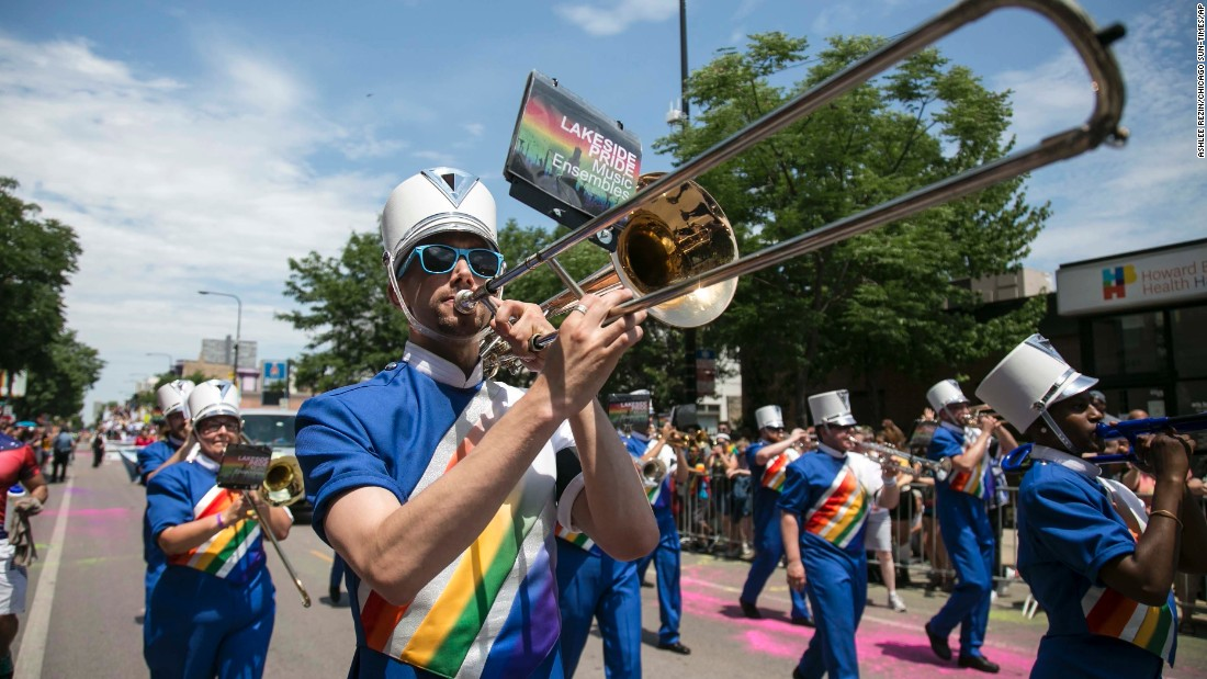 Members of Lakeside Pride Music Ensembles march in the Chicago parade.