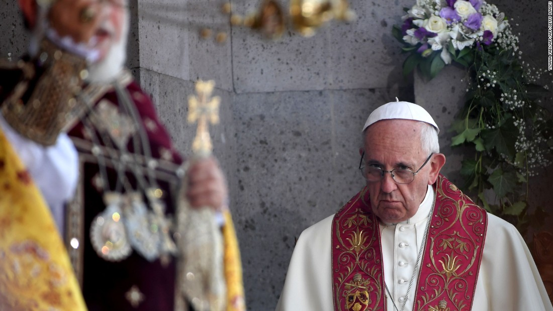 Pope Francis looks on as Catholicos of All Armenians Karekin II celebrates the Divine Liturgy at the Apostolic Cathedral in Etchmiadzin, outside Yerevan, Armenia, on June 26.