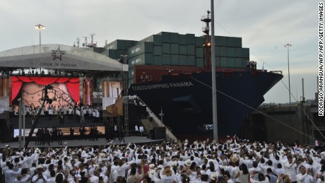 Chinese-chartered merchant ship Cosco Shipping Panama crosses the new Cocoli Locks during the inauguration of the Panama Canal expansion in Panama City on June 26, 2016. A giant Chinese-chartered freighter nudged its way into the expanded Panama Canal on Sunday to mark the completion of nearly a decade of work forecast to boost global trade. / AFP / RODRIGO ARANGUA        (Photo credit should read RODRIGO ARANGUA/AFP/Getty Images)
