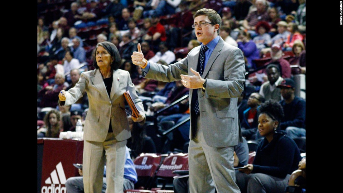 Tyler Summitt calls out to his Louisiana Tech players in December 2014 alongside associate head coach Mickie DeMoss, left, who spent two decades as an assistant at Tennessee under the his mother Pat Summitt.