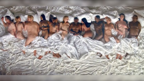 "A still frame from Kanye West's music video for the song ""Famous"""