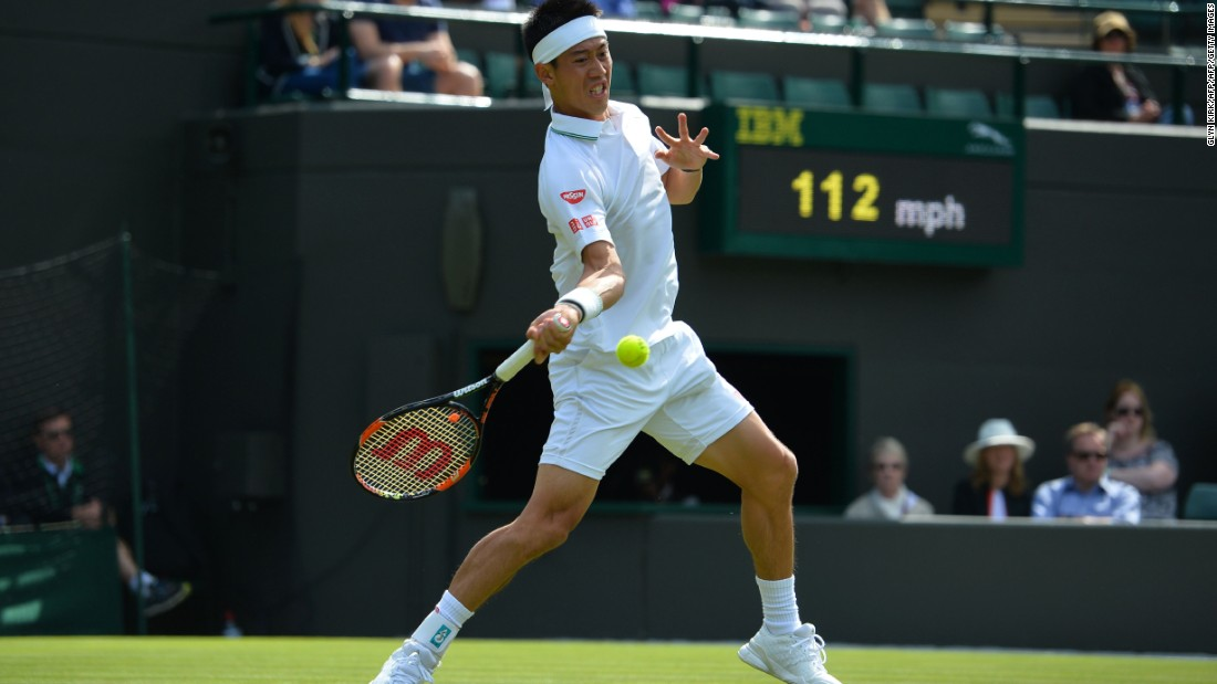 Japanese fifth seed Kei Nishikori returns during his straight-sets win over Australia's Sam Groth.