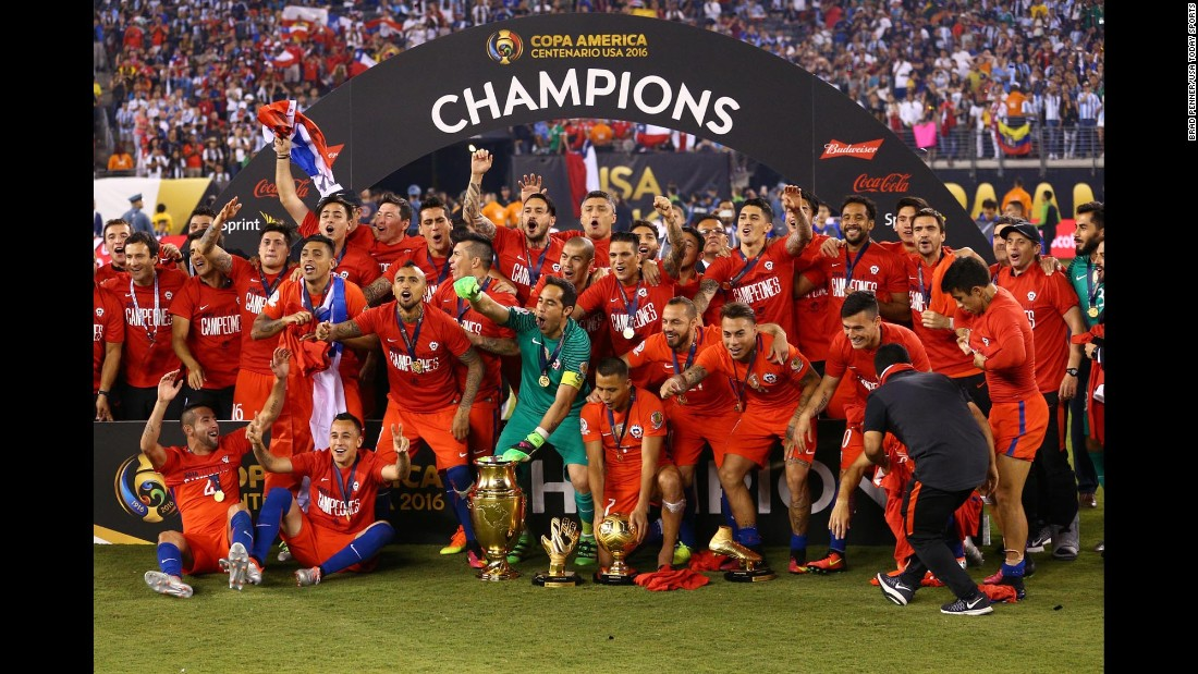 Chile poses with the championship trophy after winning the Copa America Centenario. Chile also defeated Argentina on penalties in last year's tournament.