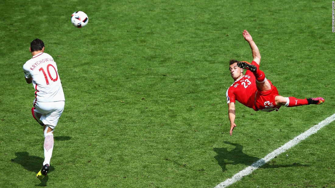 Switzerland's Xherdan Shaqiri scores an outrageous bicycle kick against Poland on Saturday, June 25. Poland, however, would go on to win the match on penalties and advance to the quarterfinals of Euro 2016.