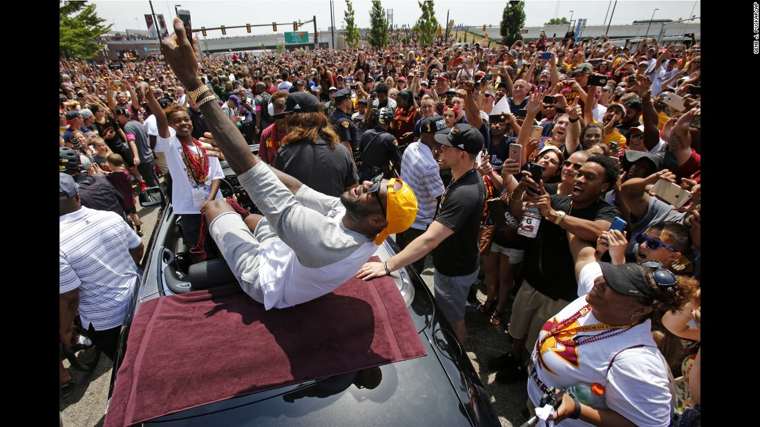 "LeBron James takes a selfie during the Cleveland Cavaliers' victory parade on Wednesday, June 22. The Cavaliers <a href=""http://www.cnn.com/2016/06/19/sport/gallery/nba-finals-game-7/index.html"" target=""_blank"">won their first NBA title</a>, ending the city of Cleveland's long championship drought. <a href=""http://www.cnn.com/2016/06/20/sport/gallery/cities-longest-championship-droughts/index.html"" target=""_blank"">See other cities' droughts</a>"