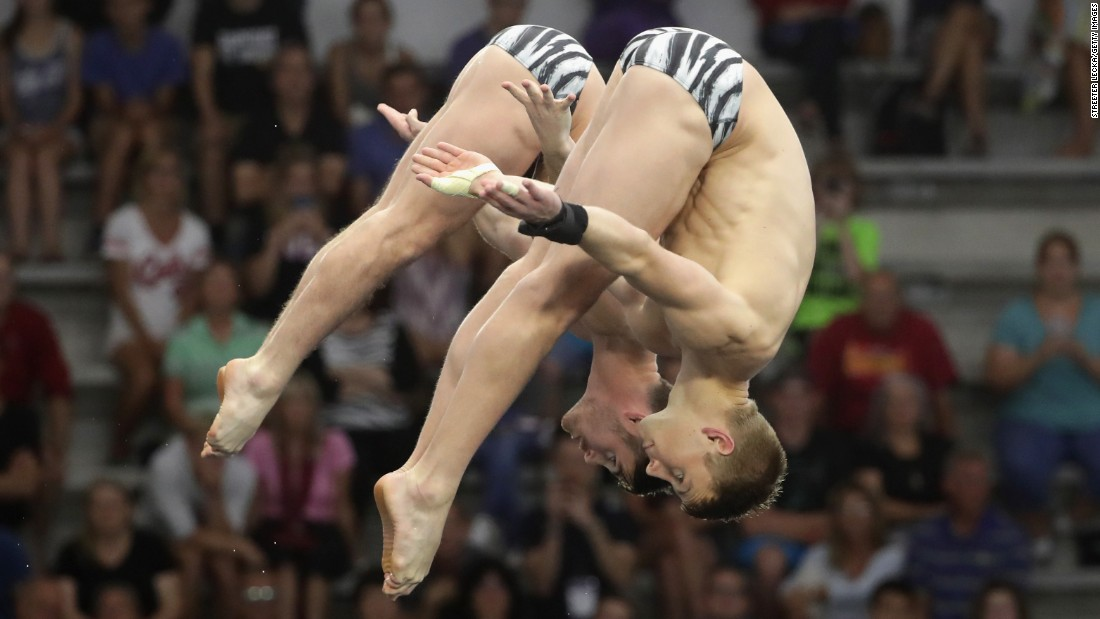 Synchronized divers Steele Johnson, right, and David Boudia compete in the 10-meter platform final at the U.S. Olympic Trials on Thursday, June 23. They won the event.