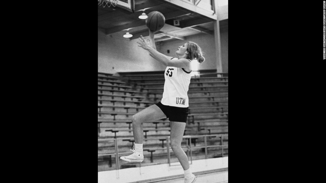University of Tennessee-Martin Skyhawks women's basketball player Pat Summitt goes for the lay-up at the Elam Center in Martin, Tennessee, in the 1970s.